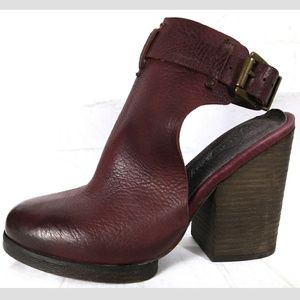 Free People Red Wine Mules Boho Chunky Heels 8 38